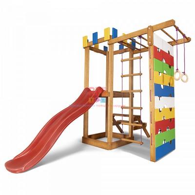 Детский игровой деревянный спортивный комплекс-площадка, горка, качель, кольца, лестница+сетка 207х236х187 см