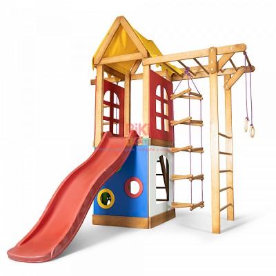 Детский игровой деревянный спортивный комплекс-площадка, горка, кольца, лестница, турник-рукоход 240х238х75 см