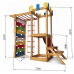 Детский игровой деревянный спортивный комплекс-площадка, горка, кольца, турник, лестница+сетка 207х236х187 см