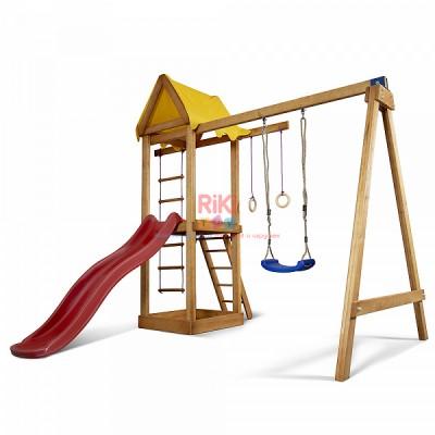 Детский игровой деревянный спортивный комплекс-площадка, горка, качель, кольца, лестница 240х310х154 см