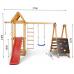Детский игровой деревянный спортивный комплекс-площадка, горка, качель, кольца, лестница, доска 240х376х154 см
