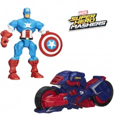 Разборная фигурка Капитан Америка с мотоциклом, съемными частями, 15 см - Captain America Marvel Mashers Hasbro