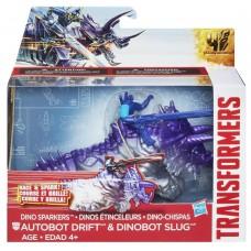 Игровой набор Автобот Дрифт и Динобот Слаг с заводным механизмом - Drift&Slug, Dino Sparklers, TF4, Hasbro