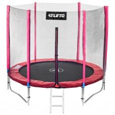 Спортивно-игровой Батут с лестницей, с защитной сеткой, нагрузка до 120 кг, 48 пружин, D= 252 см, красный