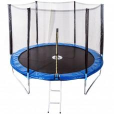 Спортивно-игровой Батут с внешней защитной сеткой, лестницей, нагрузка до 120 кг, 42 пружины, D= 252 cм, синий