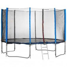 Спортивно-игровой Батут с лестницей, с внешней сеткой, нагрузка до 180 кг, 88 пружин, D= 435 см, синий
