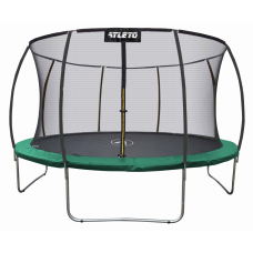 Спортивно-игровой Батут с внутренней сеткой, нагрузка до 180 кг, лестница, 80 пружин, D=404 см , зеленый