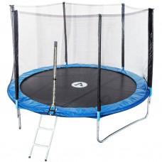 Спортивно-игровой Батут с внешней защитной сеткой, лестницей, нагрузка до 180 кг, 90 пружин, D= 465 cм, синий