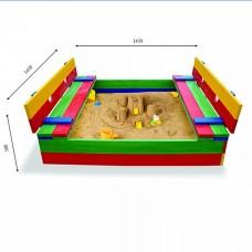 Детская Деревянная Компактная Песочница с лавочками, крышкой и бортиками, для дачи и улицы 145х145 см