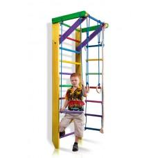 Детская Шведская стенка - цветной спортивный уголок: кольца, канат, турник, лестница 220х80 см желтый Ю2-220