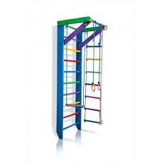 Детская Шведская стенка - цветной спортивный уголок: кольца, канат, турник, лестница 220х80см синий Р2-220