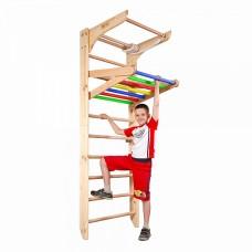 Детская шведская стенка, спортивный уголок-трансформер от 2 лет, турник-рукоход, кольца, лестница, 220х80 см 47890-19 ks-Kinder 4-220