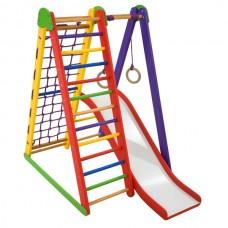 Детский спортивный Комплекс-уголок для дома и квартиры: гладиаторская сетка, горка, кольца 80х100х130 см K-S-4