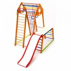 Детский спортивный Комплекс-уголок для дома и квартиры: столик, сетка, горка, рукоход 130х130х170 см BBWP 1-1