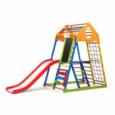 Детский спортивный комплекс-уголок для дома и квартиры, сетка, горка, кольца, рукоход 132х85х150 см KWCP 3