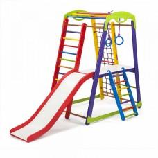 Детский спортивный Комплекс-уголок для дома и квартиры: столик, сетка, горка, рукоход 132х85х150 см K-1 P-2