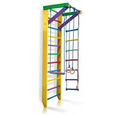 Детская Шведская стенка - цветной спортивный уголок: кольца, канат, турник, лестница 240х80 см желтый Ю2-240