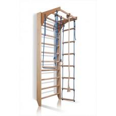 Детский спортивный комплекс-уголок Шведская стенка с турником, кольца, веревочная лестница 75х80х220см K-2-220