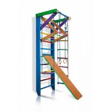 Детская шведская стенка - цветной спортивный уголок: кольца, канат, турник-рукоход, лестница 220х80 см Р3-220