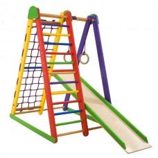 Детский спортивный Комплекс-уголок для дома и квартиры, гладиаторская сетка, горка, кольца 80х100х130 см K-S-3