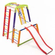 Детский спортивный Комплекс-уголок для дома и квартиры: стол-пристройка, горка Волна 130х130х150 см K-1 P-1-1