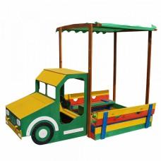 Детская Деревянная Песочница Грузовик для улицы и дачи с лавочкой, навесом и крышкой, цветная 260х145х180 см