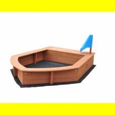 Детская Деревянная Песочница Лодочка с бортиками-лавочками,  для улицы и дачи 190х150х23 см
