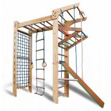 Детская шведская спортивная стенка, П-образный детский уголок, турник, кольца, лестница, рукоход 240х82 см K5-240 47882-19 ks-Kinder 5-240