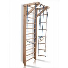 Детский спортивный комплекс-уголок Шведская стенка с турником, кольца, веревочная лестница 75х80х240 см S2-240
