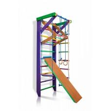 Детская шведская стенка - цветной спортивный уголок: кольца, канат, турник-рукоход, лестница 220х80 см К3-220