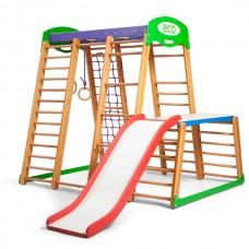 Детский спортивный Комплекс-уголок для дома и квартиры: стол-пристройка, горка, рукоход 170х130х150 см KP 1-1