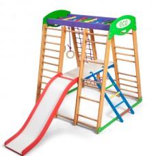 Детский спортивный комплекс-уголок для дома и квартиры: столик с лесенкой, горка, кольца 132х124х150 см КP 2