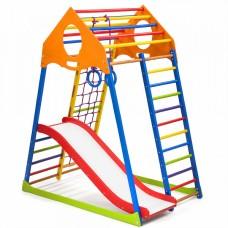 Детский спортивный Комплекс-уголок для дома и квартиры, сетка, горка, кольца, рукоход 132х85х150 см KWCP 1