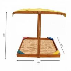 Детская Деревянная Песочница Сахара с регулируемой крышей-тентом и лавочкой, для улицы и дачи, 140х145х150 см