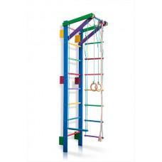 Детская Шведская стенка - цветной спортивный уголок: кольца, канат, турник, лестница 220х55 см синий T2-220