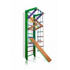 Детская Шведская стенка - цветной спортивный уголок: кольца, канат, турник-рукоход, лестница 240х80 см РГ3-240