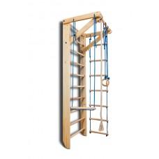 Детский спортивный комплекс-уголок Шведская стенка с турником, кольца, веревочная лестница 75х80х220 см S2-220