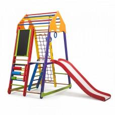 Детский спортивный Комплекс-уголок для дома и квартиры, сетка, горка, кольца, рукоход 132х85х170 см BBWCP 3