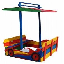 Детская Деревянная Песочница Машина с лавочками, крышкой и тентовым навесом, для улицы и дачи 145х160 см