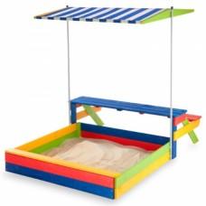 Детская Деревянная Песочница с крышей-тентом, столиком и лавочкой, для улицы и дачи, разноцветная 140х145х160 см