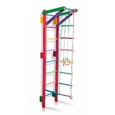 Детская Шведская стенка - цветной спортивный уголок: кольца, канат, турник, лестница 220х55 см розовый T2-220