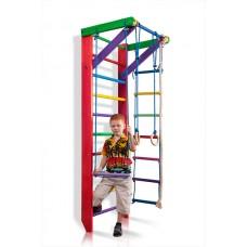 Детская Шведская стенка - цветной спортивный уголок: кольца, канат, турник, лестница 220х80 см розовый Б2-220