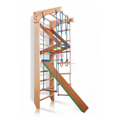 Детская шведская спортивная стенка, спортивный комплекс уголок, турник, кольца, лестница, 220х80 см K 3-220