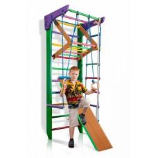 Детская шведская стенка - цветной спортивный уголок: кольца, канат, турник-рукоход, лестница 220х80 см РГ3-220