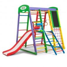 Детский спортивный комплекс-уголок для дома и квартиры, сетка, горка, кольца, рукоход 132х124х150 см АP 3 47864-19 ks-«Акварелька Plus 3»