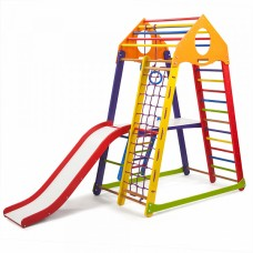 Детский спортивный Комплекс-уголок для дома и квартиры: сетка, горка, кольца, рукоход 132х85х170 см BBWCP 2