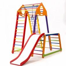 Детский спортивный Комплекс-уголок для дома и квартиры: сетка, горка, кольца, рукоход 130х130х170 см BBWCP 1-1