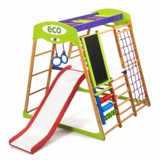 Детский спортивный Комплекс-уголок для дома, квартиры: столик, горка, кольца, мольберт 132х124х130 см КP 3