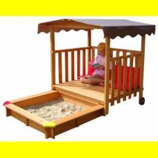Детская Деревянная Песочница Трансформер на колесиках с деревянной беседкой, для улицы и дачи, 145х145х160 см