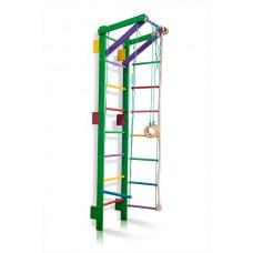 Детская Шведская стенка - цветной спортивный уголок: кольца, канат, турник, лестница 220х55 см зеленый T2-220